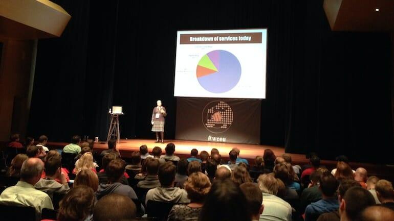 Miriam Schwab speaking about making mistakes as a WordPress freelancer at WordCamp Europe