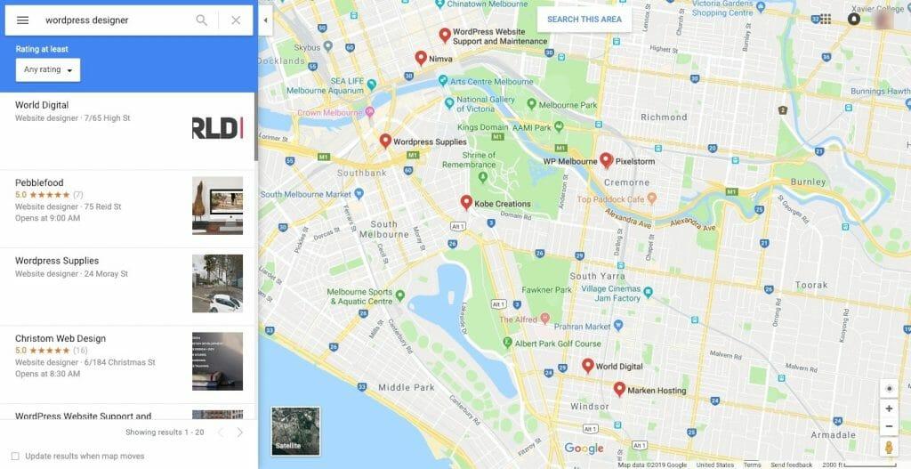Google Maps - Find New WordPress Clients