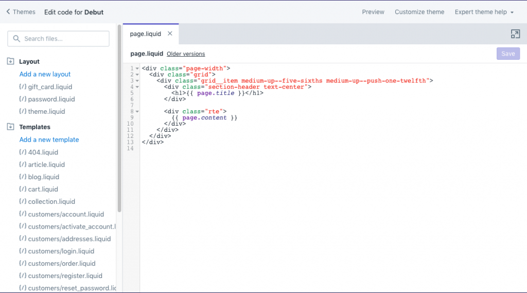 Shopify Code Editor