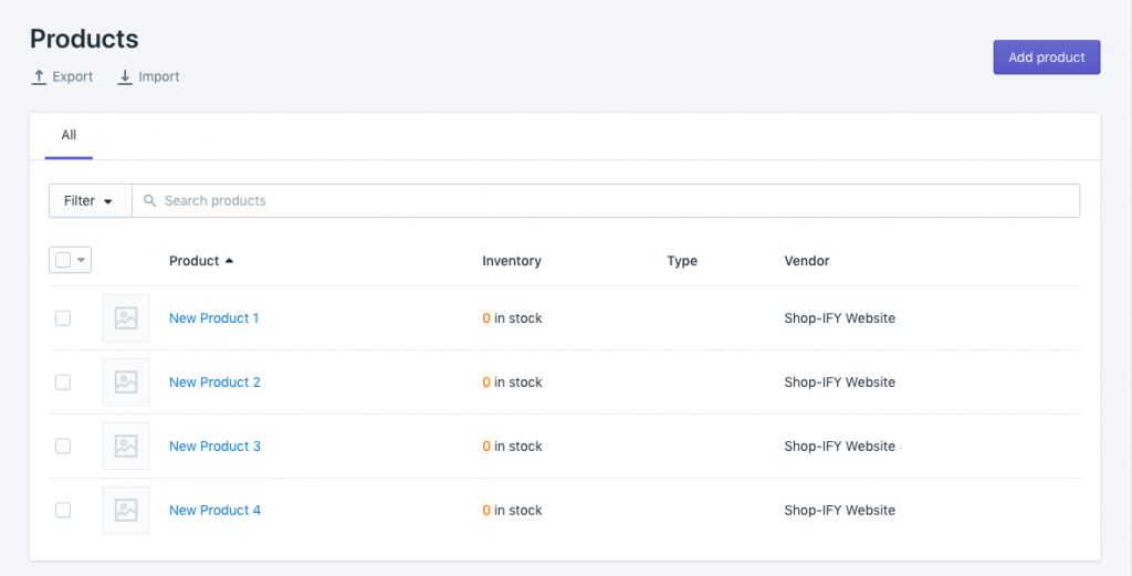 Shopify Product Inventory