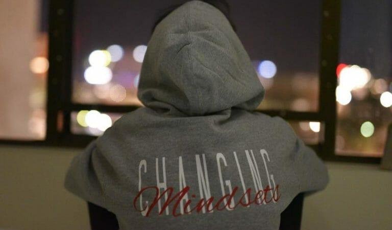 grey hoodie that says changing mindset